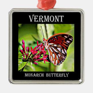Ornement Carré Argenté Papillon de monarque du Vermont
