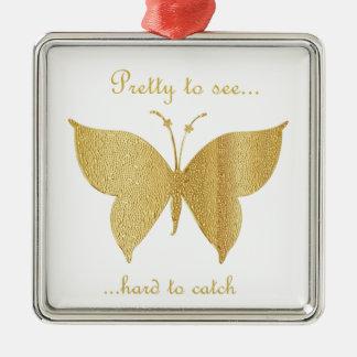 Ornement Carré Argenté Papillon de parties scintillantes - assez pour