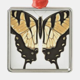 Ornement Carré Argenté papillon étroit