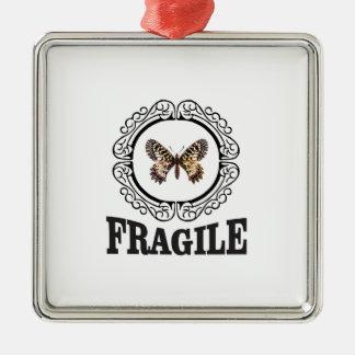 Ornement Carré Argenté papillon fragile rond