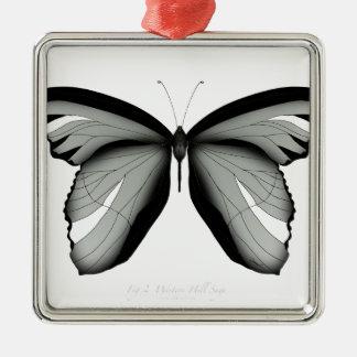 Ornement Carré Argenté Papillon occidental de sauge de colline