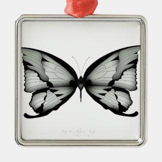 Ornement Carré Argenté Papillon sage alpin