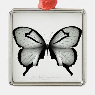 Ornement Carré Argenté Papillon sage de chasseur de vallée