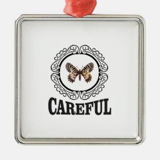 Ornement Carré Argenté papillon soigneux