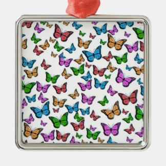 Ornement Carré Argenté Papillons