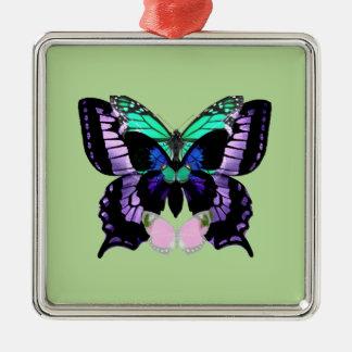 Ornement Carré Argenté Papillons posés