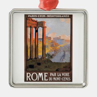 Ornement Carré Argenté Paris 1920 à l'affiche de voyage de train de Rome