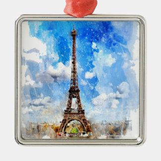 Ornement Carré Argenté Paris, Tour Eiffel, aquarelle, élégante