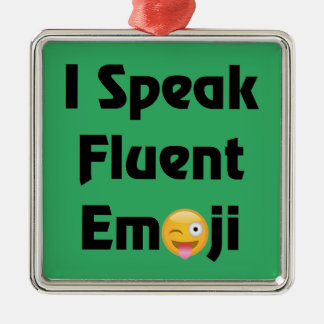 Ornement Carré Argenté Parlez Emoji fluide