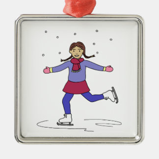 Ornement Carré Argenté Patineur artistique de fille de patinage de glace