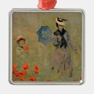 Ornement Carré Argenté Pavots sauvages de Claude Monet |, près