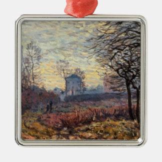 Ornement Carré Argenté Paysage d'Alfred Sisley   près de Louveciennes