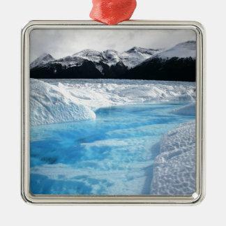 Ornement Carré Argenté Paysage de blanc de rivière d'hiver de Noël