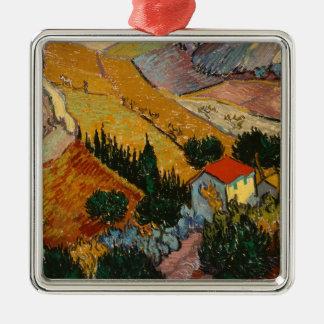 Ornement Carré Argenté Paysage de Vincent van Gogh | avec la Chambre et