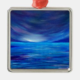 Ornement Carré Argenté Paysage marin abstrait de bleu et de pourpre