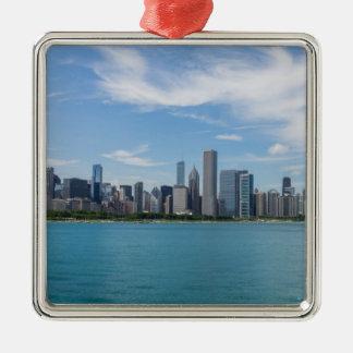 Ornement Carré Argenté Paysage urbain de jour de Chicago
