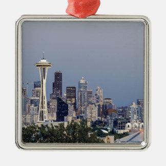 Ornement Carré Argenté Paysage urbain de Seattle
