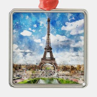 Ornement Carré Argenté Paysage urbain Paris, Eiffel d'aquarelle vers