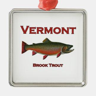 Ornement Carré Argenté Pêche du Vermont - truite de ruisseau