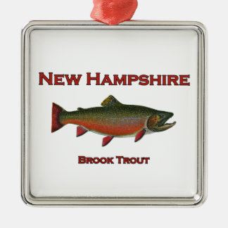 Ornement Carré Argenté Pêche en eau douce du New Hampshire - truite de