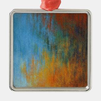 Ornement Carré Argenté Peinture à l'huile