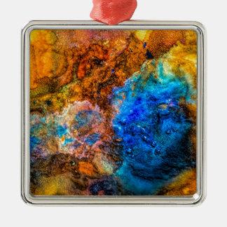 Ornement Carré Argenté Peinture colorée de texture abstraite de pierre