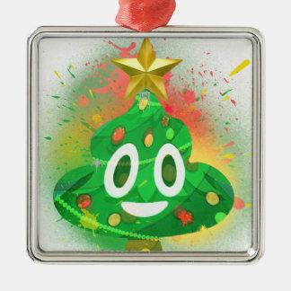Ornement Carré Argenté Peinture de jet d'arbre de Noël d'Emoji