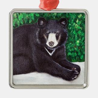 Ornement Carré Argenté Peinture d'ours noir