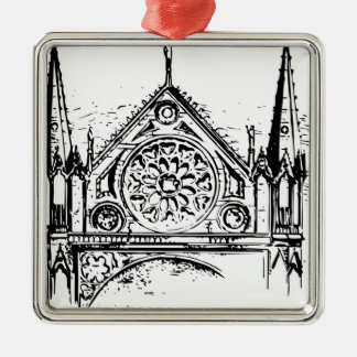 Ornement Carré Argenté Peinture gothique d'église