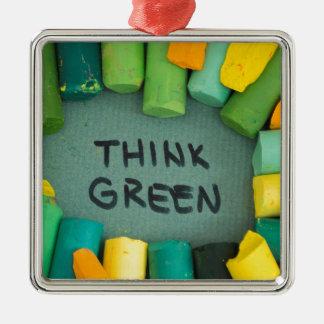 Ornement Carré Argenté Pensez le vert, concept d'écologie