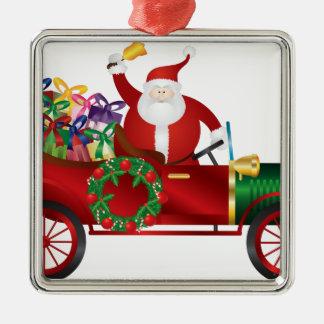 Ornement Carré Argenté Père Noël ; Claus ; cru ; vieux ; voiture ; moteur