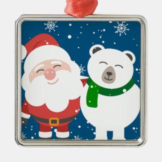 Ornement Carré Argenté Père Noël et l'ours