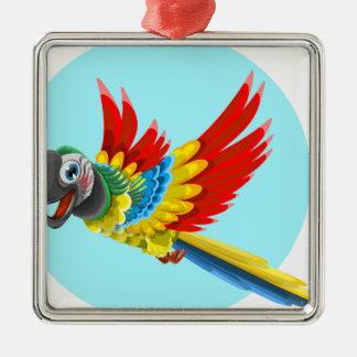 Ornement Carré Argenté perroquet