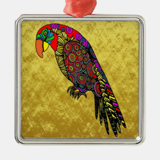Ornement Carré Argenté Perroquets dans la feuille d'or vert-bleu rouge