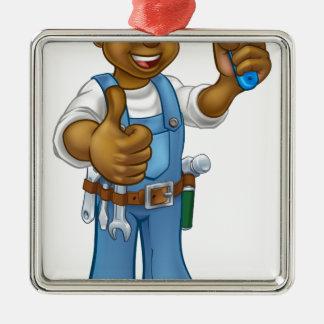 Ornement Carré Argenté Personnage de dessin animé noir de décorateur de