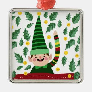 Ornement Carré Argenté Petit Noël heureux Elf dans le chandail vert