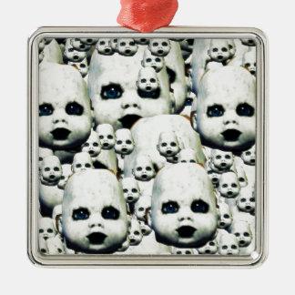 Ornement Carré Argenté petit produits de poupée hantés par visage