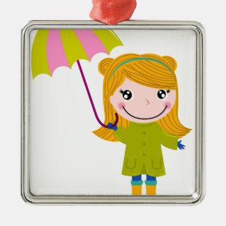 Ornement Carré Argenté Petite fille pluvieuse mignonne. Illustration