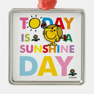 Ornement Carré Argenté Petite Mlle Sunshine | est aujourd'hui un jour de