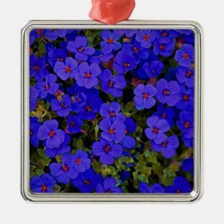 Ornement Carré Argenté Petites fleurs bleues
