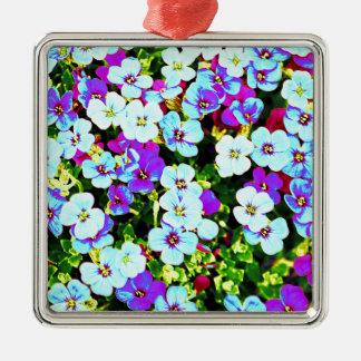 Ornement Carré Argenté Petites fleurs colorées