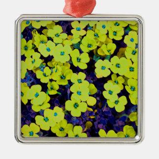 Ornement Carré Argenté Petites fleurs jaunes