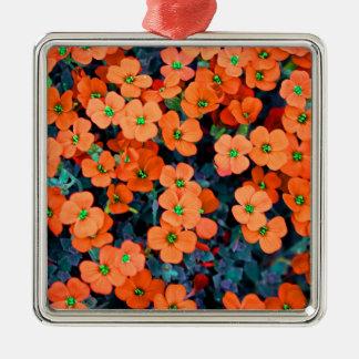 Ornement Carré Argenté Petites fleurs oranges