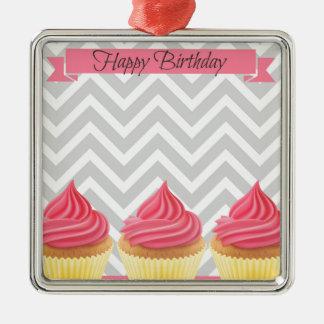 Ornement Carré Argenté Petits gâteaux de joyeux anniversaire