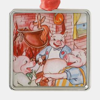 Ornement Carré Argenté Petits porcs du conte de fées trois vintages et le
