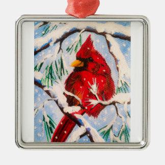 Ornement Carré Argenté Peu d'ornement cardinal rouge