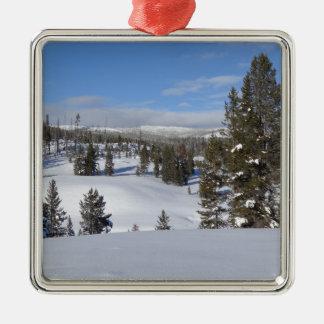 Ornement Carré Argenté Photo de paysage d'hiver de Yellowstone