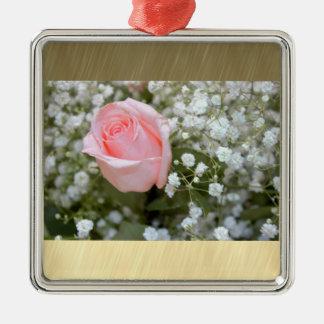 Ornement Carré Argenté Photo de rose de rose