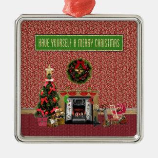 Ornement Carré Argenté Pièce de Noël, cheminée, arbre, jouets