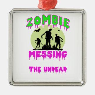 Ornement Carré Argenté Pièce en t de Halloween de zombi